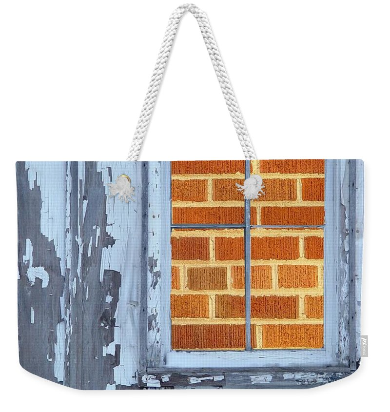 Barn Weekender Tote Bag featuring the photograph Barn Brick Window by Tim Allen