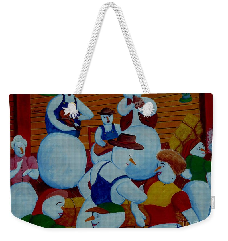 Snow Weekender Tote Bag featuring the painting Barn Dancing Snowmen by Anthony Dunphy