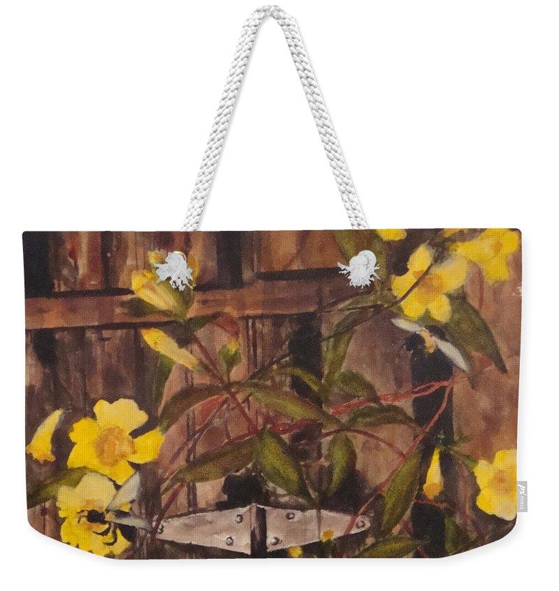 Flower Weekender Tote Bag featuring the painting Barn Door Hinge by Jean Blackmer
