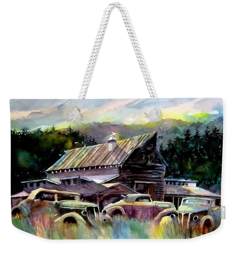Barn Fresh Cabriolets 37 Fords...barn Weekender Tote Bag featuring the painting Barn Fresh Cabriolets by Ron Morrison