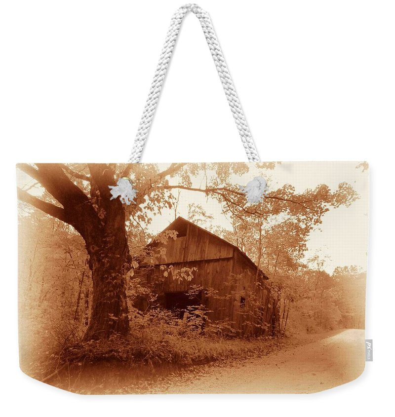 Barn Weekender Tote Bag featuring the photograph Barn Hocking Co Ohio Sepia by Nelson Strong