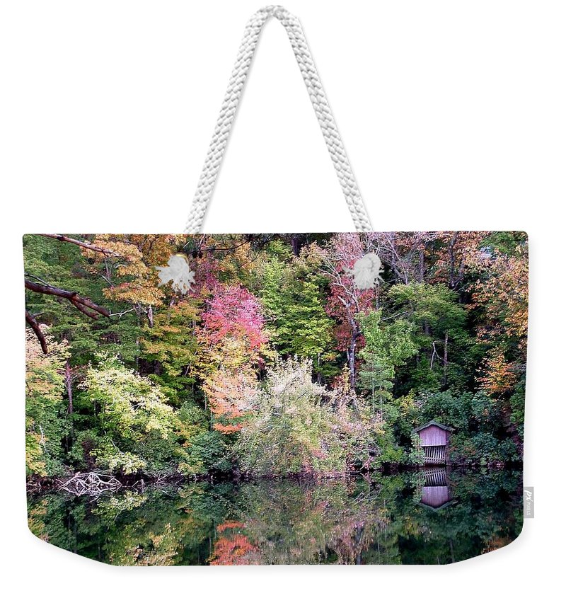 Nature Weekender Tote Bag featuring the photograph Barn In The Mirror by Robert Meanor