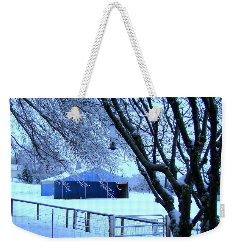 Snow Weekender Tote Bag featuring the photograph Barn in the snow by Lisa Rose Musselwhite