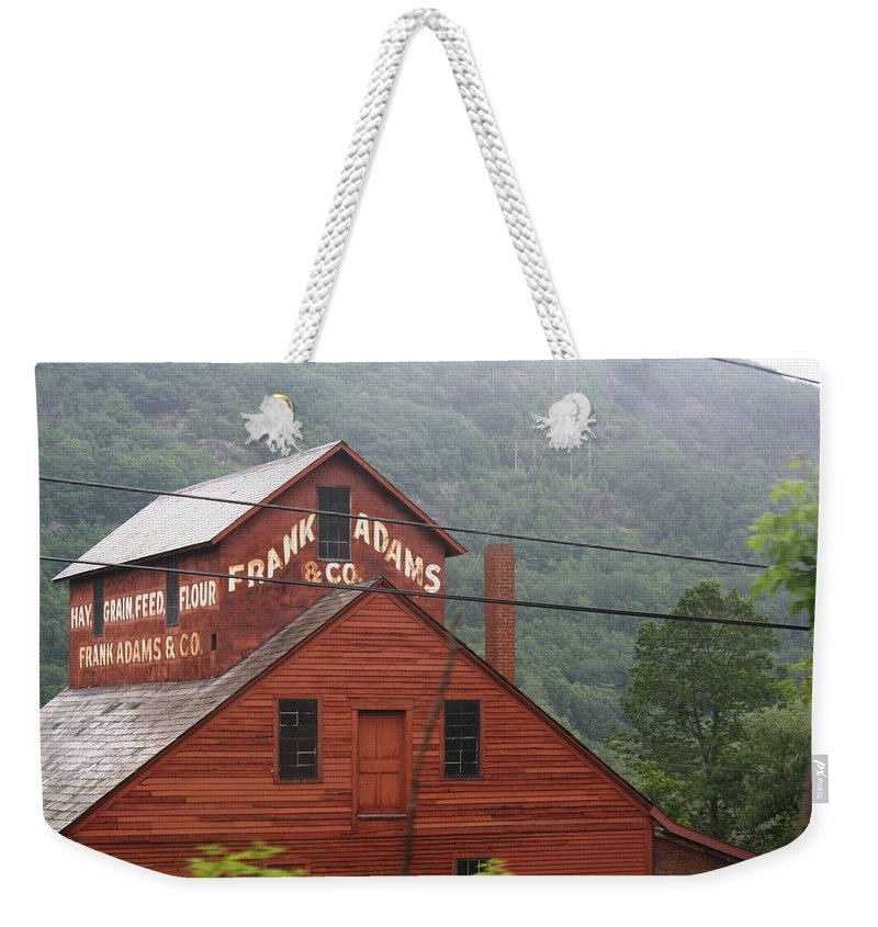 Barn Weekender Tote Bag featuring the photograph Barn In Vermont Along Amtrack by Donna Walsh