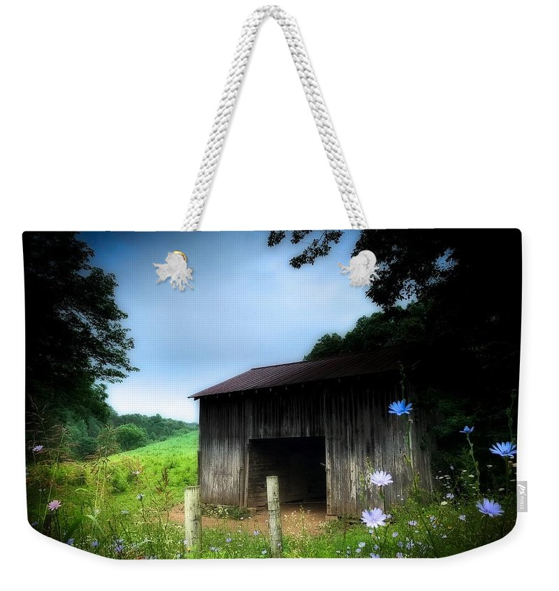Old Weekender Tote Bag featuring the photograph Barn N Flowers by David Gylland