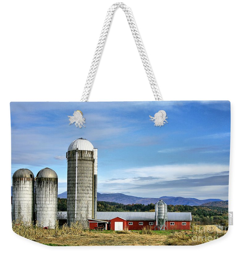 Rural Weekender Tote Bag featuring the Barn With A View by Deborah Benoit
