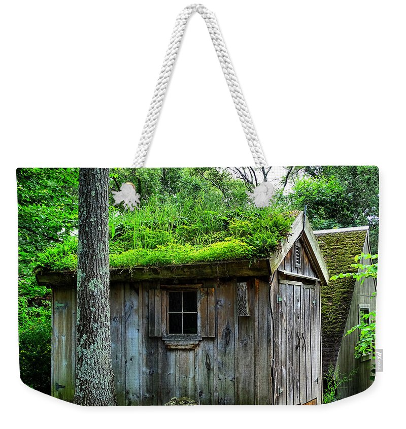 Barn Weekender Tote Bag featuring the photograph Barn With Green Roof by Lilia D