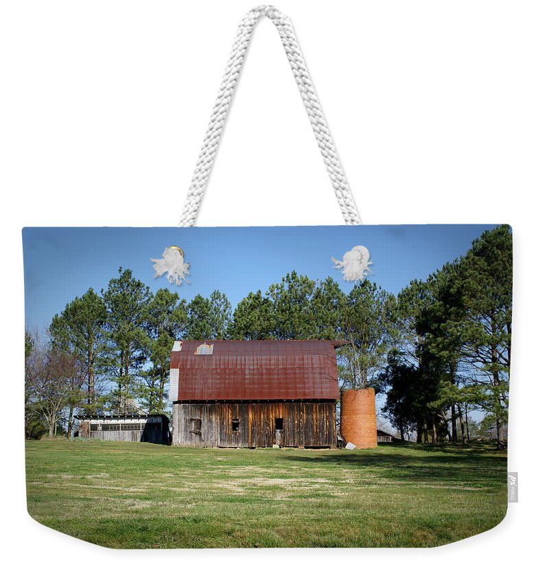 Barn Weekender Tote Bag featuring the photograph Barn With Tree In Silo by Douglas Barnett