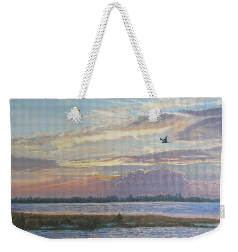 Sunset Painting Weekender Tote Bag featuring the painting Barnegat Bay At Sunset by Lea Novak