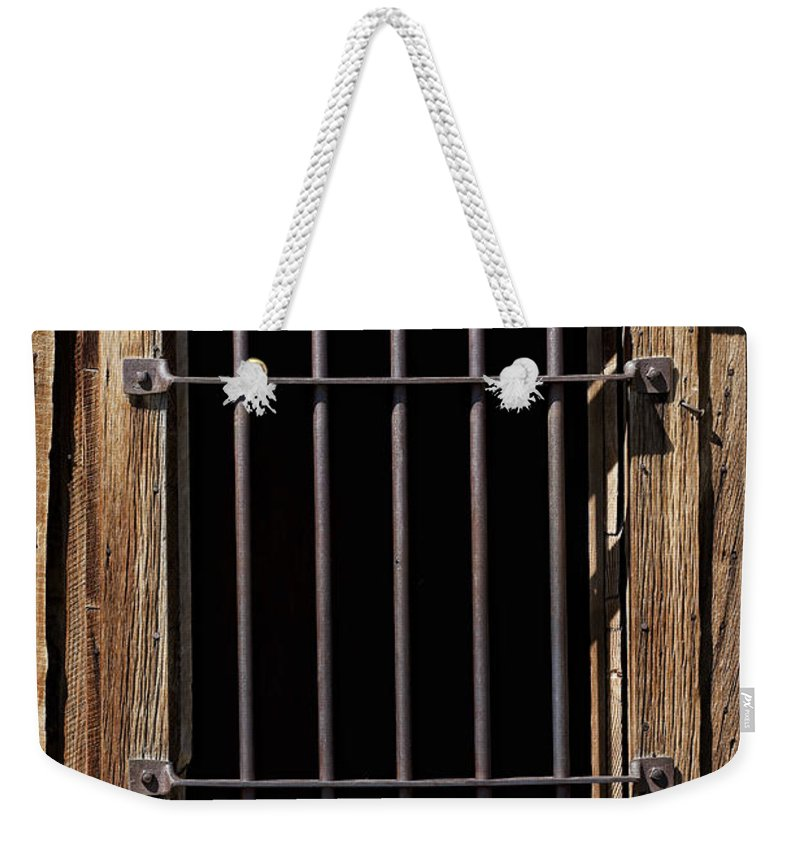 Jail Weekender Tote Bag featuring the photograph Barred by Kelley King