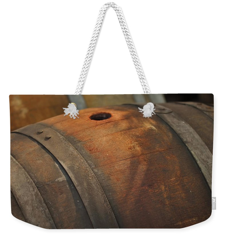 Beer Weekender Tote Bag featuring the photograph Barrel by Brandon Bourdages