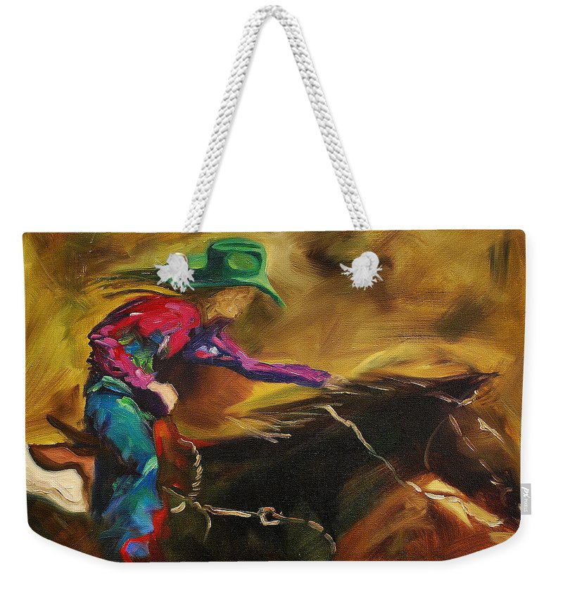 Western Art Weekender Tote Bag featuring the painting Barrel Racer by Diane Whitehead