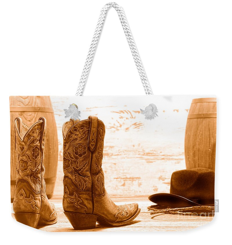 Cowgirl Weekender Tote Bag featuring the photograph Barrel Racing - Sepia by Olivier Le Queinec