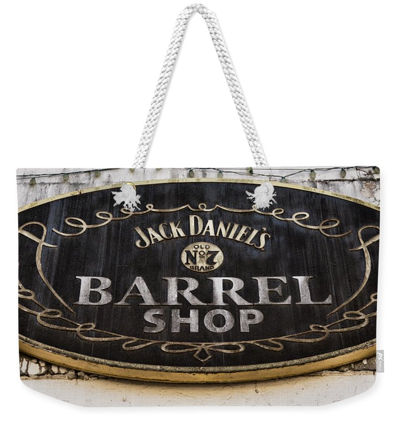 Jack Daniels Weekender Tote Bag featuring the photograph Barrel Shop by Stephen Stookey