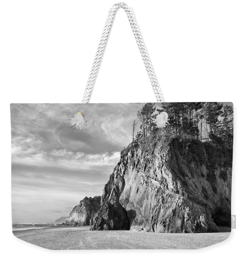 Black-and-white Weekender Tote Bag featuring the photograph Barren Coast by Dominic Piperata