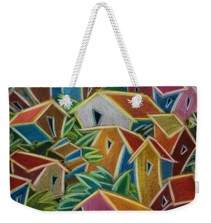 Landscape Weekender Tote Bag featuring the painting Barrio Lindo by Oscar Ortiz