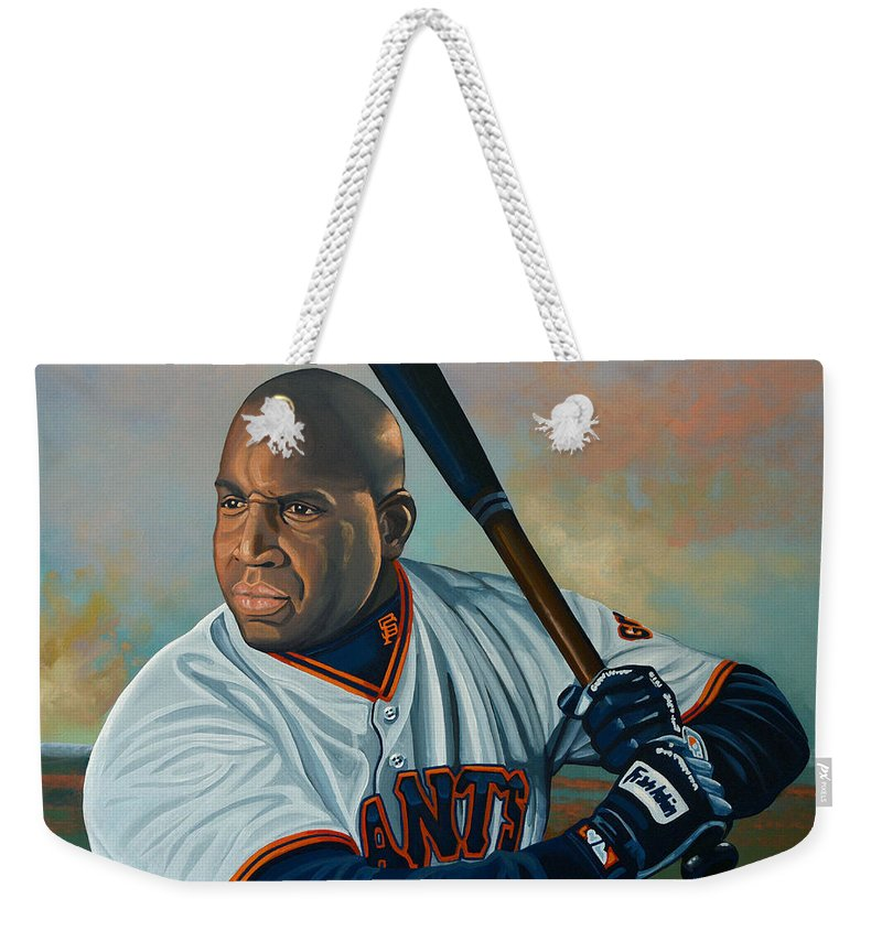 Barry Bonds Weekender Tote Bag featuring the painting Barry Bonds by Paul Meijering
