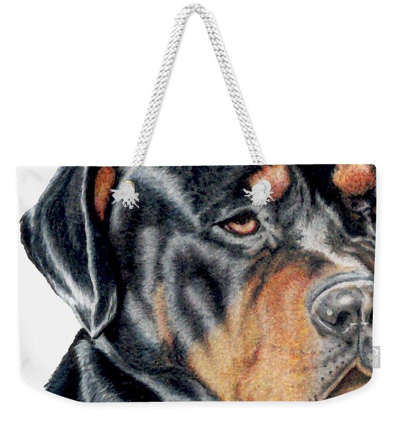 Rottweiler Weekender Tote Bag featuring the drawing Bart Detail by Kristen Wesch