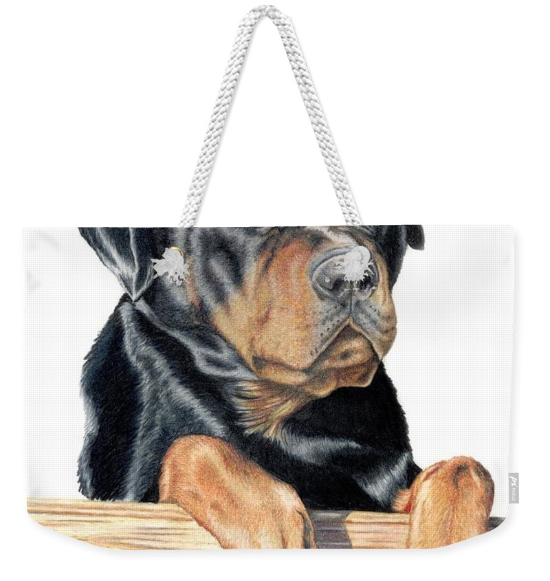 Dog Weekender Tote Bag featuring the drawing Bart by Kristen Wesch