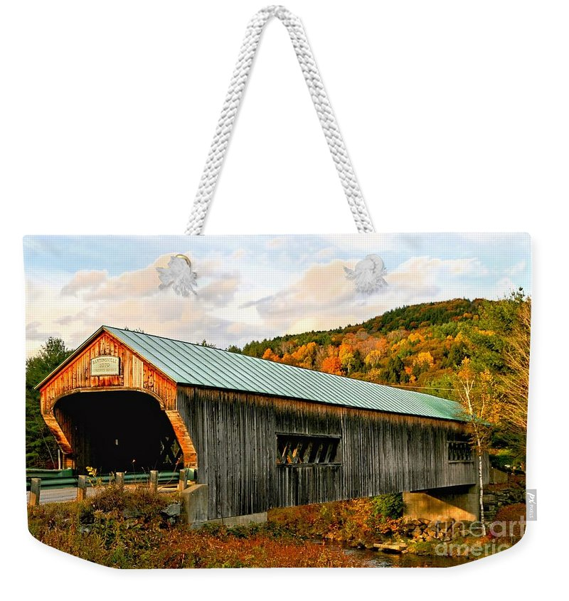Covered Bridge Weekender Tote Bag featuring the photograph Bartonsville Covered Bridge by DJ Florek