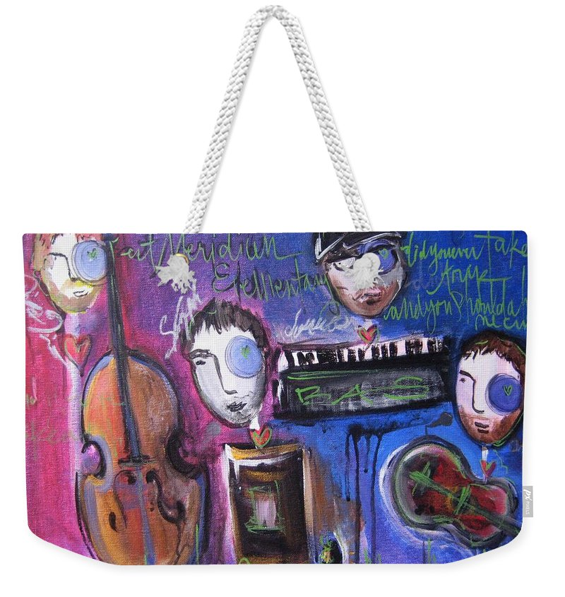 Boulder Acoustic Society Weekender Tote Bag featuring the painting Bas At Meridian Elementary School by Laurie Maves ART