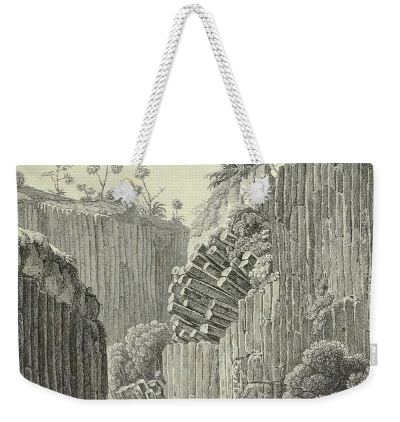 German Weekender Tote Bag featuring the drawing Basalt Rocks And The Cascade De Regla, by Alexander von Humboldt