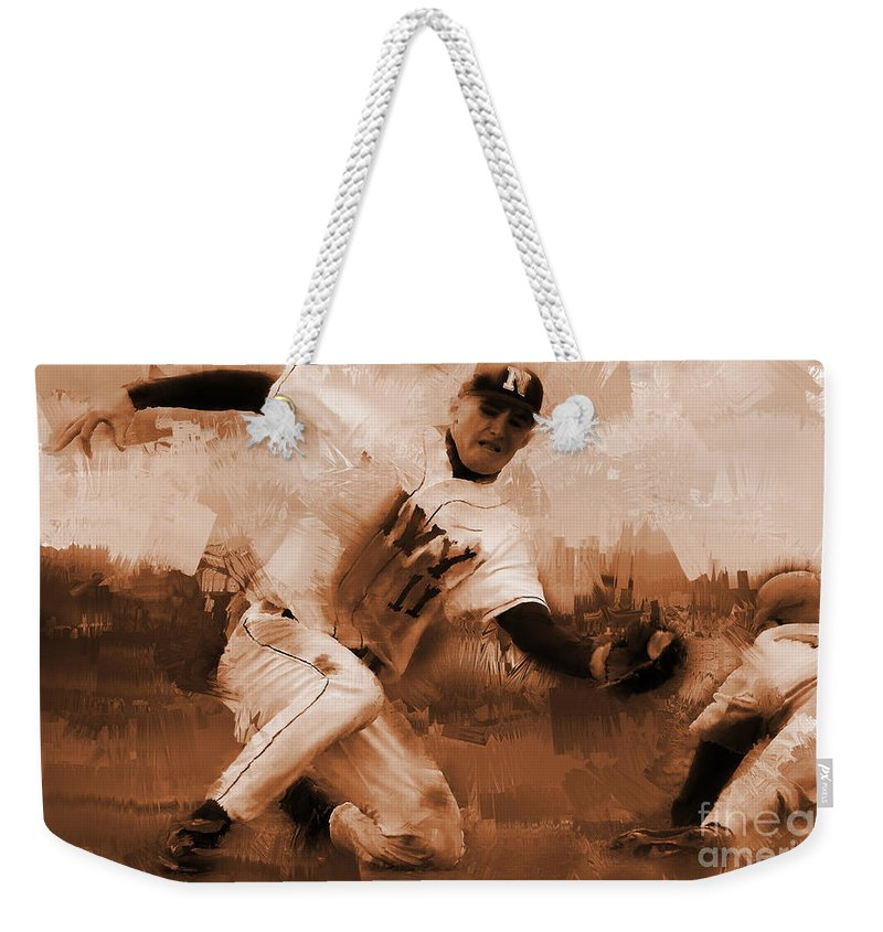Chase Utley Weekender Tote Bag featuring the painting Base Ball 01 by Gull G