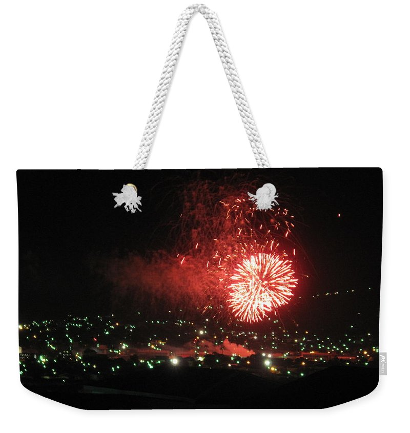 Fireworks Weekender Tote Bag featuring the photograph Base Image One by Ian MacDonald