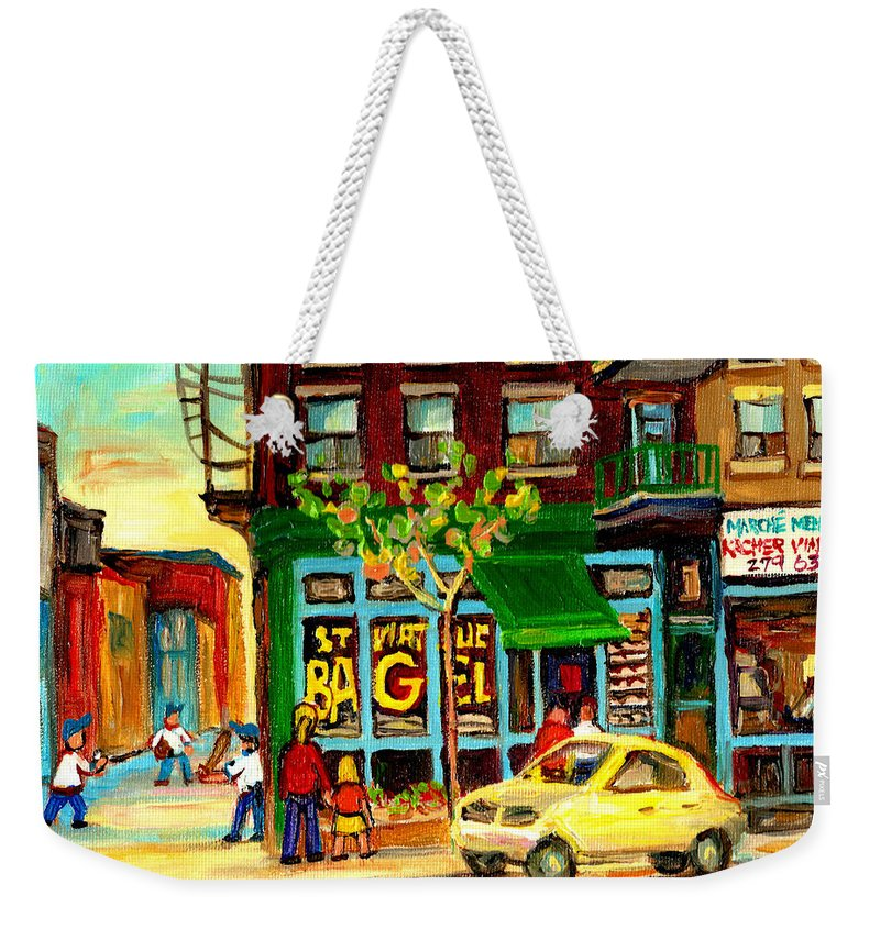 St Weekender Tote Bag featuring the painting Baseball And A Bagel by Carole Spandau