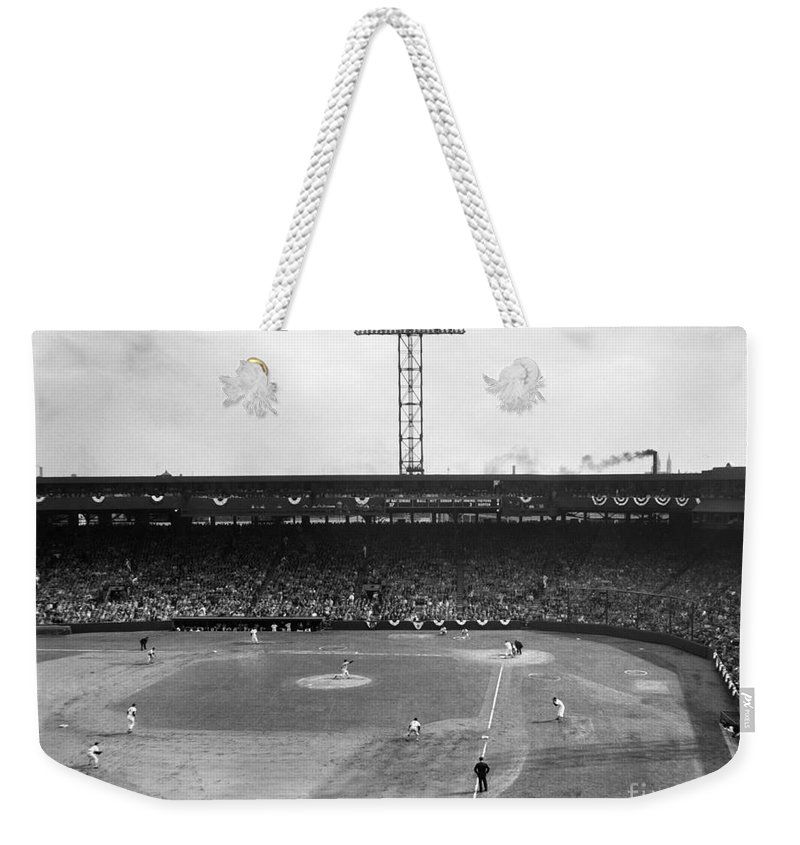 1956 Weekender Tote Bag featuring the photograph Baseball: Fenway Park, 1956 by Granger