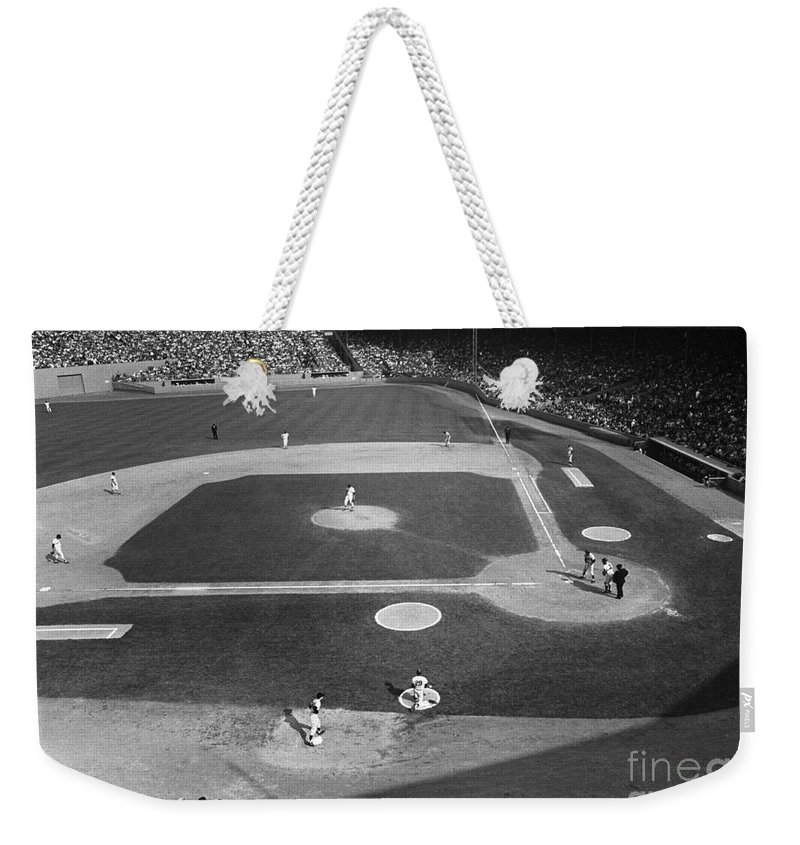 1967 Weekender Tote Bag featuring the photograph Baseball Game, 1967 by Granger