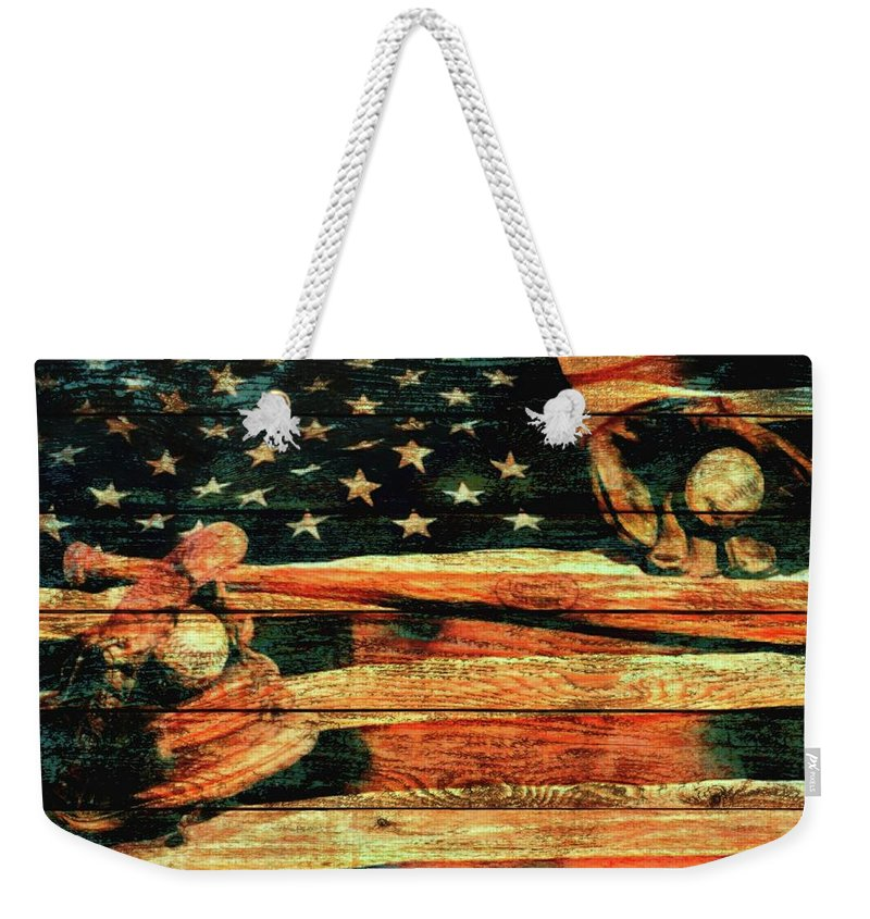Baseball An American Tradition Weekender Tote Bag featuring the mixed media Baseball Grunge Barn Door by Dan Sproul