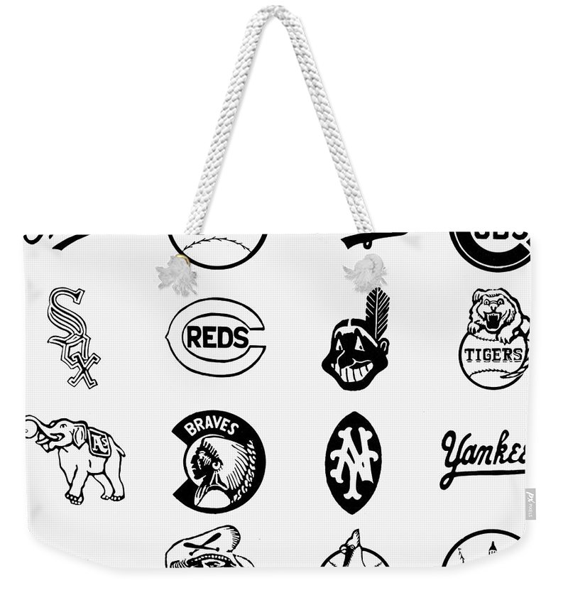 1955 Weekender Tote Bag featuring the photograph Baseball Logos by Granger