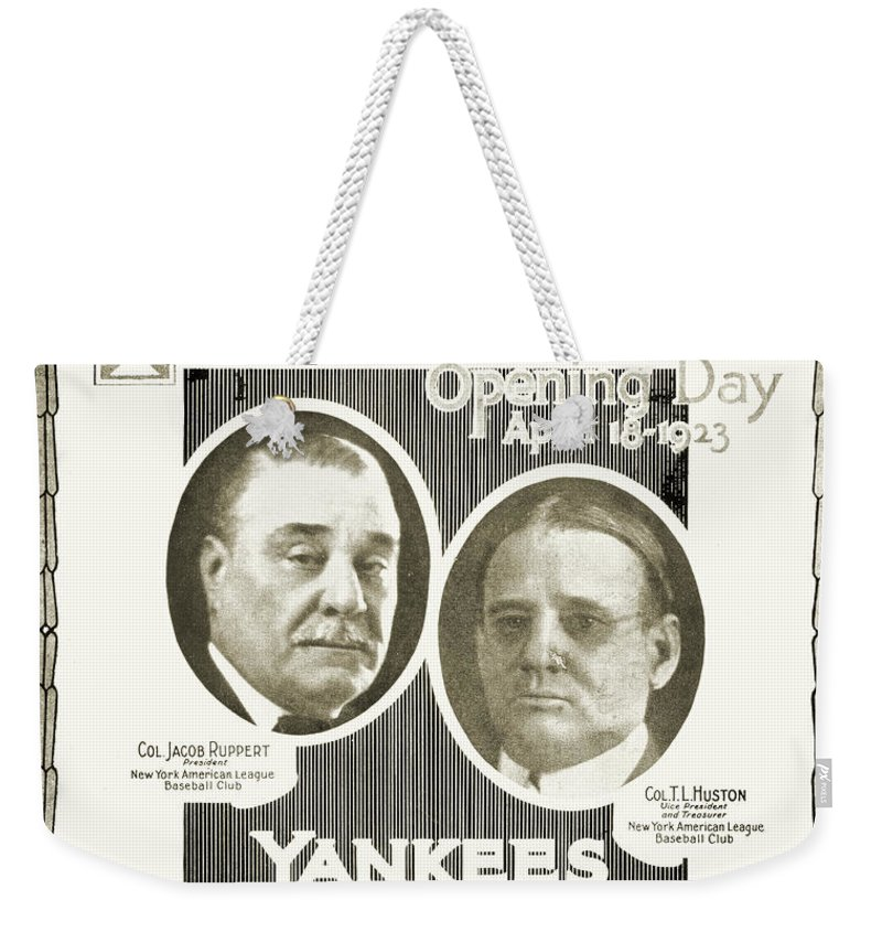 1923 Weekender Tote Bag featuring the photograph Baseball Program, 1923 by Granger