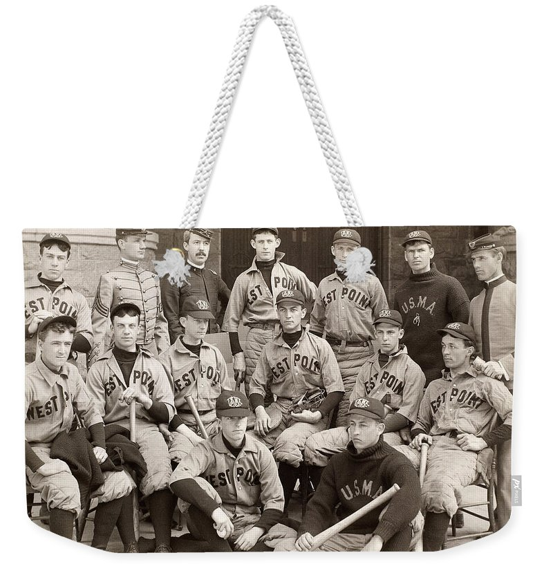 1896 Weekender Tote Bag featuring the photograph Baseball: West Point, 1896 by Granger