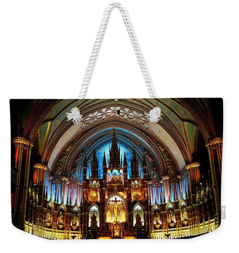 North America Weekender Tote Bag featuring the photograph Notre - Dame Basilica - Montreal by Juergen Weiss