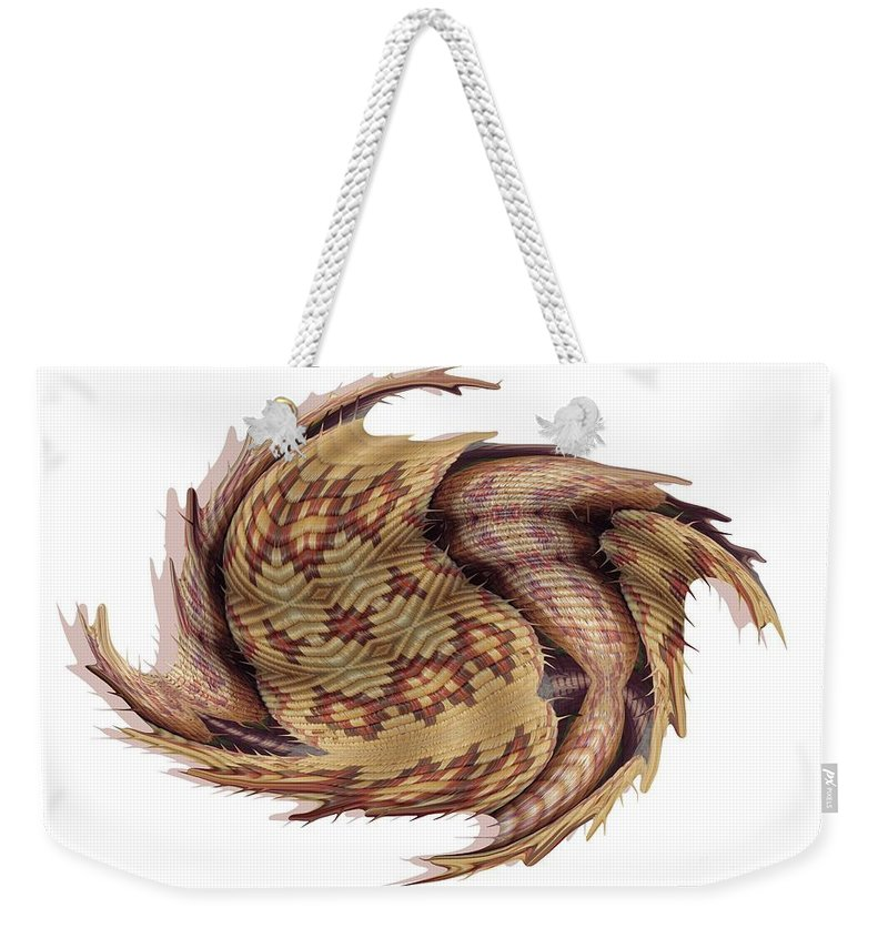 Basket Weekender Tote Bag featuring the digital art Basket Entering Black Hole by Ron Bissett