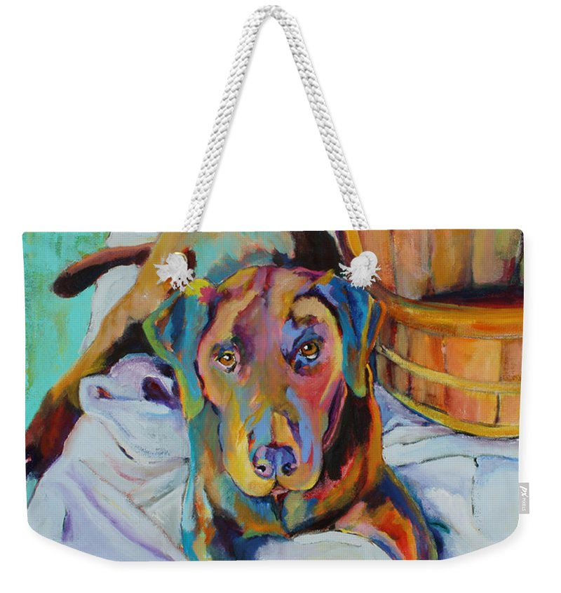 Chocolate Lab Weekender Tote Bag featuring the painting Basket Retriever by Pat Saunders-White