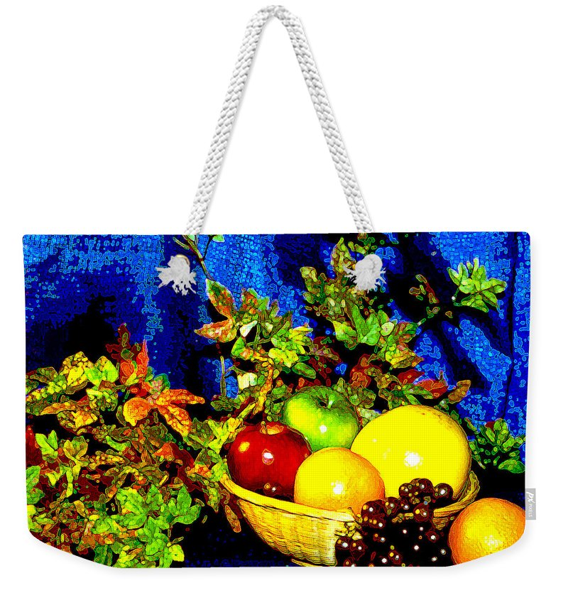 Fruit Weekender Tote Bag featuring the photograph Basket With Fruit by Nancy Mueller