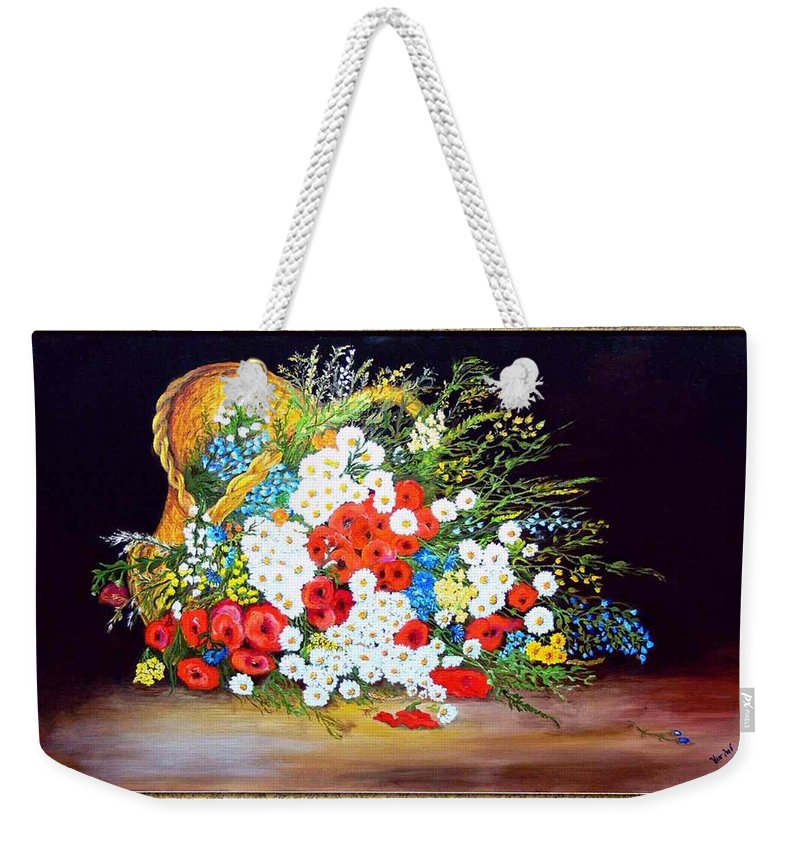 Summer Weekender Tote Bag featuring the painting Basket With Summer Flowers by Helmut Rottler