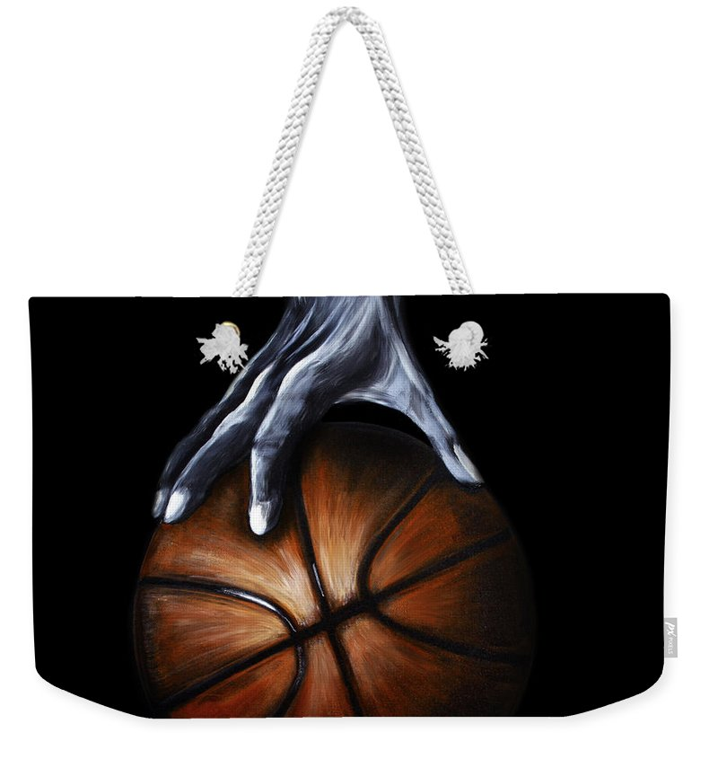 Basketball Weekender Tote Bag featuring the painting Basketball Legend by Dani Abbott