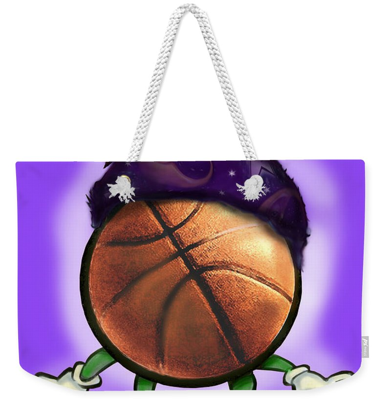 Basketball Weekender Tote Bag featuring the greeting card Basketball Wizard by Kevin Middleton