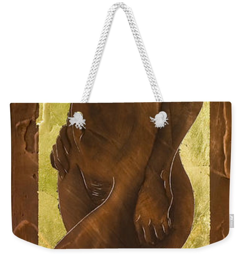 Nude Weekender Tote Bag featuring the painting Basking In The Glow by Richard Hoedl
