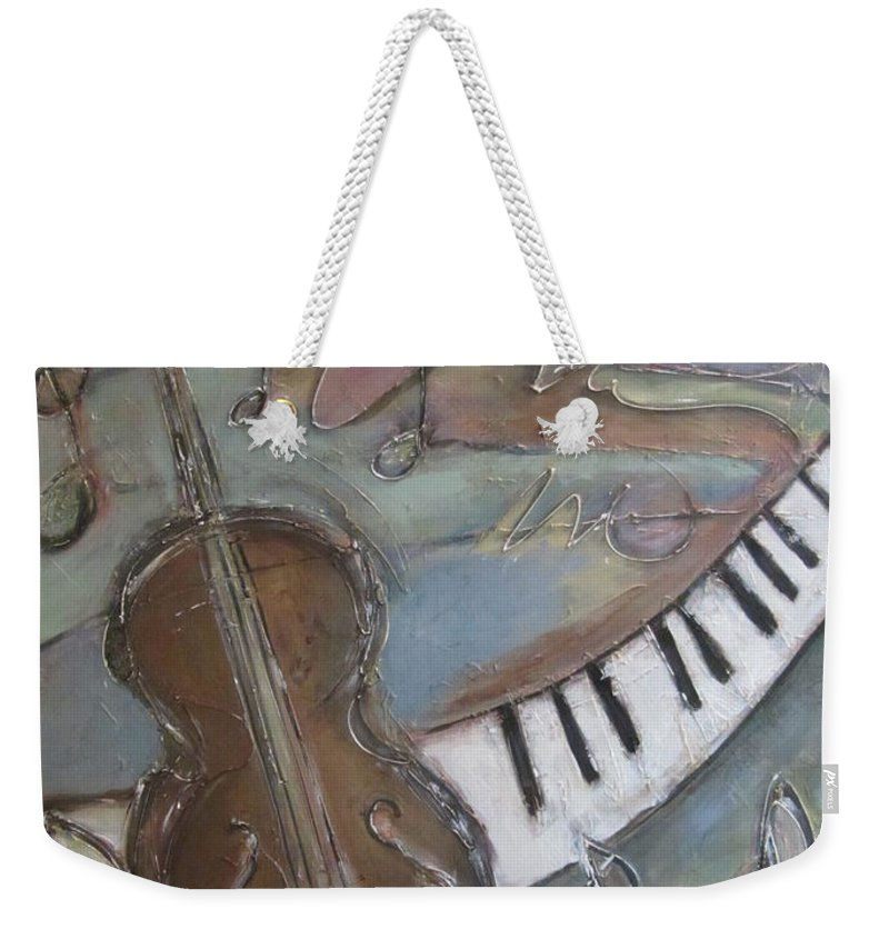 Painting Weekender Tote Bag featuring the painting Bass And Keys by Anita Burgermeister