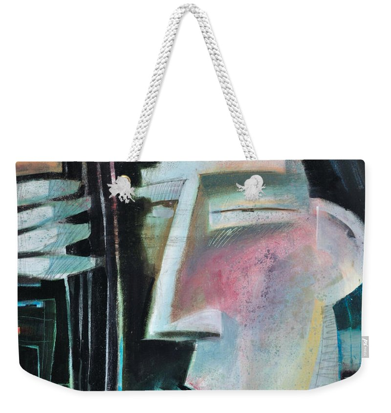 Jazz Weekender Tote Bag featuring the painting Bass Face by Tim Nyberg