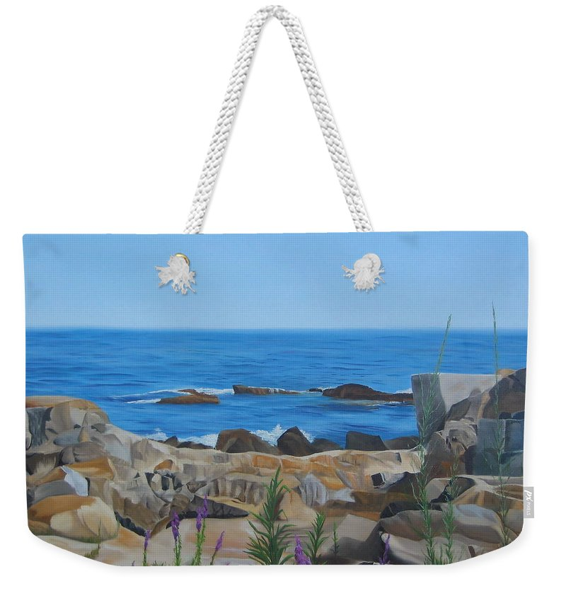 Seascape Weekender Tote Bag featuring the painting Bass Rocks Gloucester by Lea Novak