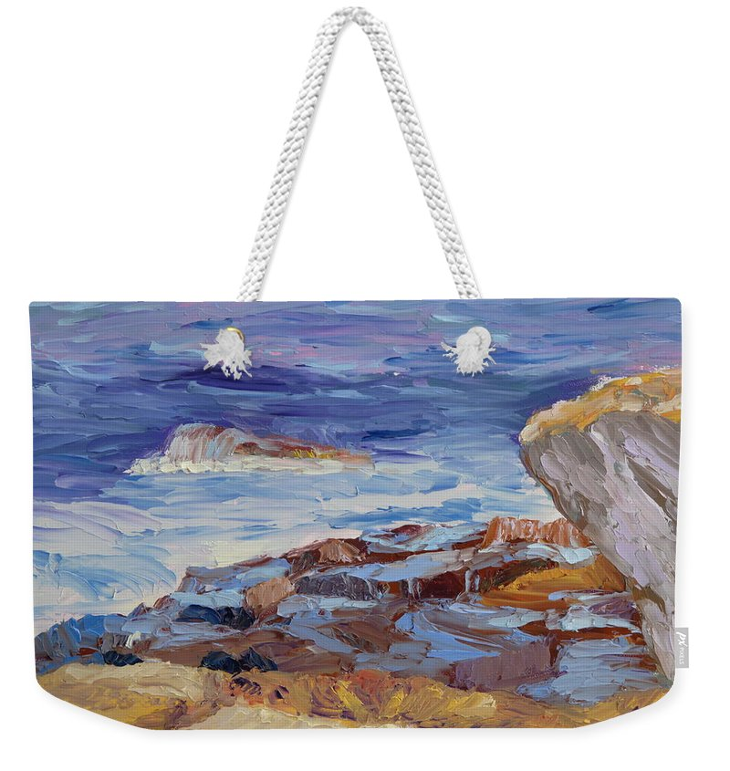 Seascape Painting Weekender Tote Bag featuring the painting Bass Rocks by Lea Novak