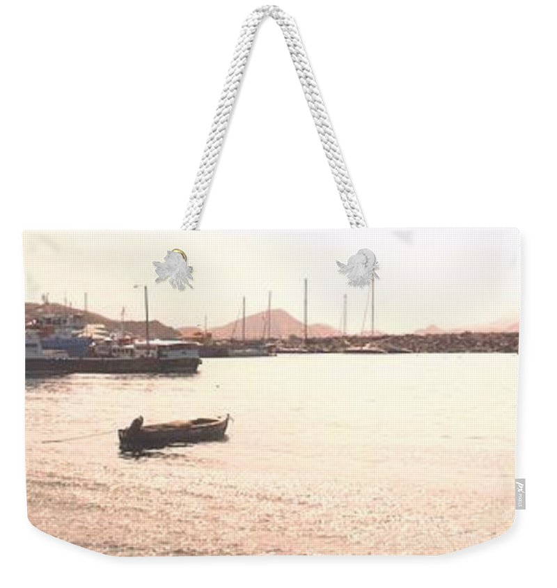 St Kitts Weekender Tote Bag featuring the photograph Basseterre Harbour by Ian MacDonald