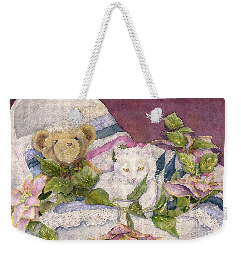 White Cat Weekender Tote Bag featuring the painting Bassinet Buddies by Malanda Warner