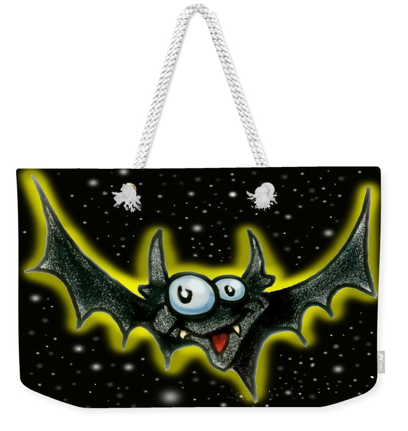 Bat Weekender Tote Bag featuring the greeting card Bat by Kevin Middleton